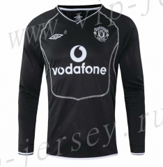 Retro Version 2000 Manchester United Away Black LS Thailand Soccer Jersey AAA-SL