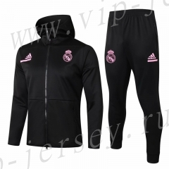 2020-2021 Real Madrid Black Thailand Soccer Jacket Uniform With Hat-815