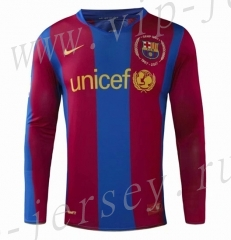 Retro Version 07-08 Barcelona Home Red&Blue LS Thailand Soccer Jersey AAA-908