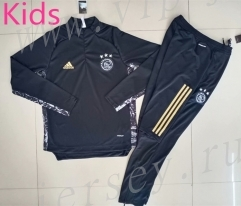 UEFA Champions League 2020-2021 Ajax Black&Gray Kids/Youth Soccer Tracksuit-GDP