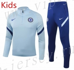 2020-2021 Chelsea Light Blue Kids/Youth Soccer Tracksuit-GDP