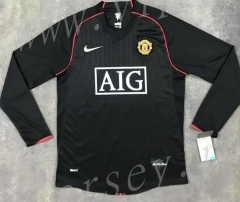 Retro Version 07-08 Manchester United 2nd Away Black LS Thailand Soccer Jersey AAA-SL