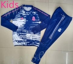 2020-2021 Real Madrid Upper Cyan Kids/Youth Soccer Tracksuit-GDP