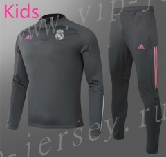 2020-2021 Real Madrid Gray Kids/Youth Soccer Tracksuit-GDP
