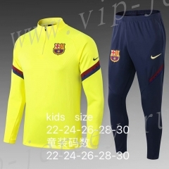 Without Ads 2020-2021 Barcelona Yellow Kid-Youth Soccer Tracksuit-411