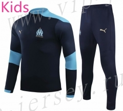 2020-2021 Olympique de Marseille Royal Blue Kids/Youth Soccer Tracksuit-GDP