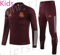 UEFA Champions League 2020-2021 Real Madrid Jujube Red Kids/Youth Soccer Tracksuit-GDP