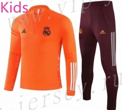 UEFA Champions League 2020-2021 Real Madrid Orange Kids/Youth Soccer Tracksuit-GDP