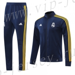 2020-2021 Real Madrid Royal Blue (Yellow edge) Thailand Soccer Jacket Uniform-LH