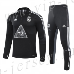 Signed jointly 2020-2021 Real Madrid Black Kids/Youth Soccer Tracksuit-GDP