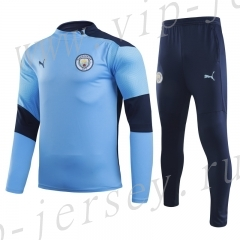 2020-2021 Manchester City Sky blue Kids/Youth Soccer Tracksuit-GDP