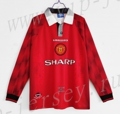 Retro Version 96-97 Manchester United Home Red LS Thailand Soccer Jersey AAA-c1046