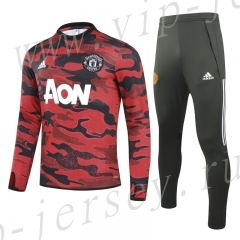 2020-2021 Manchester United Red&Black Horse print  Kids/Youth Soccer Tracksuit-GDP