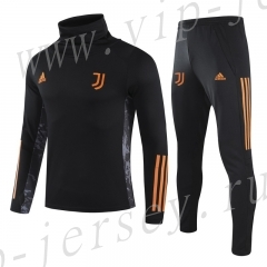 UEFA Champions League 2020-2021 Juventus Black  High Collar Thailand Soccer Tracksuit-GDP