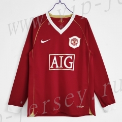 Retro Version 06-07 Manchester United Home Red LS Thailand Soccer Jersey AAA-c1046