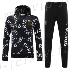 2020-2021 Paris SG Black Thailand Soccer Tracksuit Uniform With Hat-418