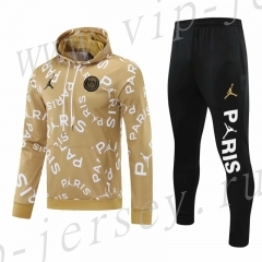 2020-2021 Paris SG Gold Thailand Soccer Tracksuit Uniform With Hat-418