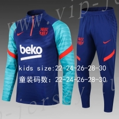 2020-2021 Barcelona Blue Kid-Youth Soccer Tracksuit-411
