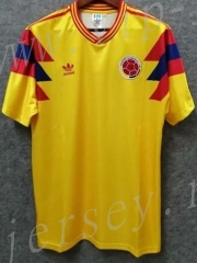 Retro version 1990 Colombia Home Yellow Thailand Soccer jersey AAA-811