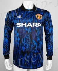 Retro Version 93 Manchester United Away Blue LS Thailand Soccer Jersey AAA-c1046