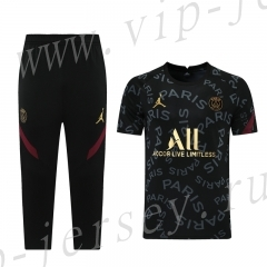 2021-2022 Jordan Paris SG Black (7 points pants)Short-sleeved Thailand Soccer Tracksuit-LH