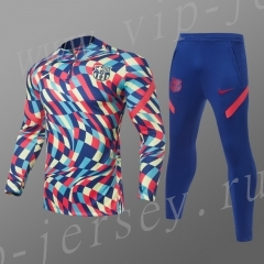 2021-2022 Barcelona Color blue Kids/Youth Thailand Soccer Tracksuit-GDP