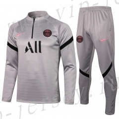 2021-2022 Jordan Paris SG Gray Soccer Tracksuit Uniform-815