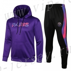2021-2022 Jordan Paris SG Purple(Chest ad) Thailand Soccer Tracksuit Uniform With Hat-815