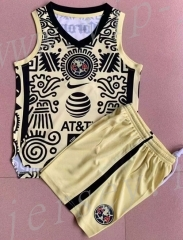2021-2022 Club America 2nd Away Yellow&Black Sleeveless Soccer Uniform-AY