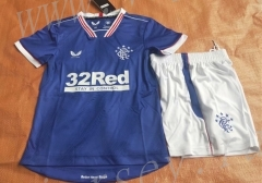 2021-2022 Rangers Home Blue Kid/Youth Soccer Uniform-7T